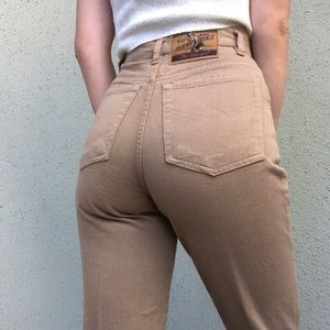 [vintage] high waist tapered taupe jeans